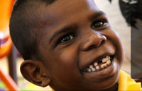 Head shot of young Aboriginal boy