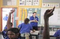 Teacher in classroom with Aboriginal students