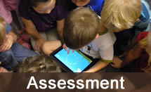 Primary school children pouring over an iPad, with Assessment caption