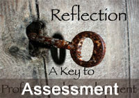 Rusted key in old door, with text 'Reflection a key to professional development', and Assessment caption