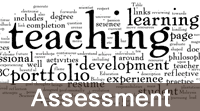 A word cloud of words associated with teaching, with Assessment caption